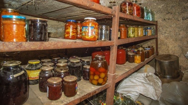 Vegetables and fruit in the basement with food, for storage for a long time.