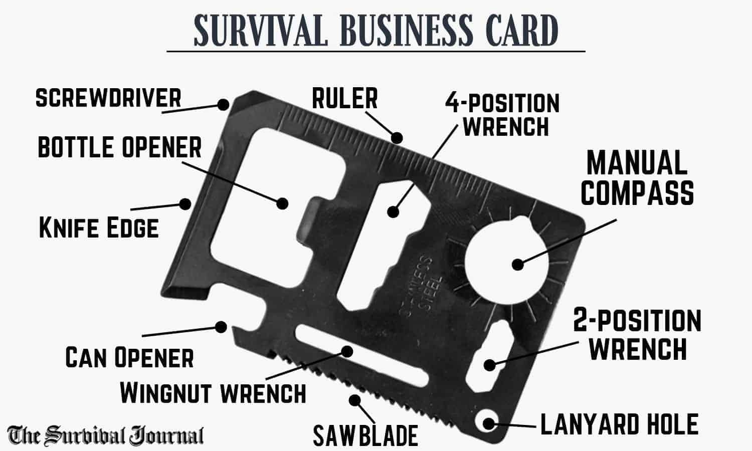 survival tool business card